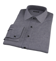 Canclini Charcoal Herringbone Flannel Custom Dress Shirt