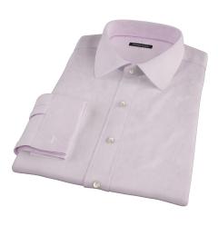 Carmine Light Pink Mini Grid Fitted Dress Shirt