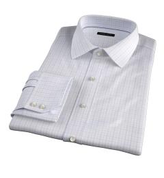 Lazio Lavender 100s Border Grid Fitted Dress Shirt