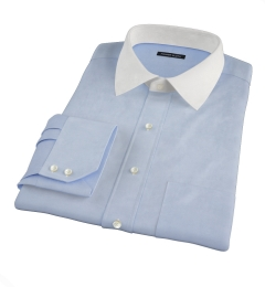 Canclini Blue Stretch Broadcloth Fitted Shirt
