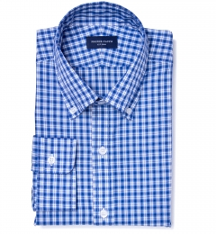 Grandi and Rubinelli 120s Blue Plaid Fitted Dress Shirt