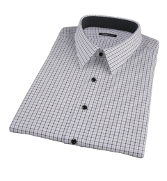 Canclini Grey and Black Multi Gingham Short Sleeve Shirt