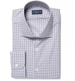 Minetta Grey Wrinkle-Resistant Multi Check Fitted Dress Shirt