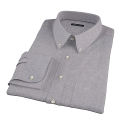 Canclini Grey Herringbone Flannel Fitted Shirt