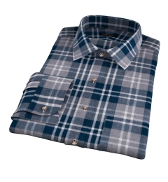 Teal and Cinder Large Plaid Flannel Fitted Dress Shirt