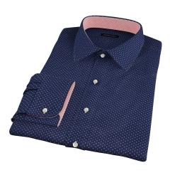 White on Navy Printed Pindot Custom Made Shirt