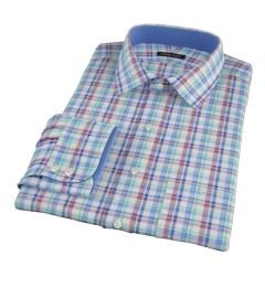 Green Brown Cotton Linen Check Dress Shirt