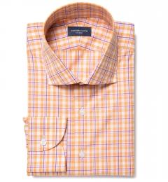Canclini Orange San Sebastian Plaid Custom Dress Shirt