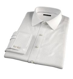 Navy on White Printed Pindot Men's Dress Shirt