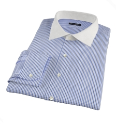 Canclini 120s Blue Medium Grid Dress Shirt