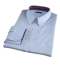 Novara Light Blue 120s Check Men's Dress Shirt