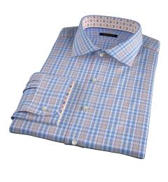 Amalfi Blue and Melon Multi Check Fitted Dress Shirt