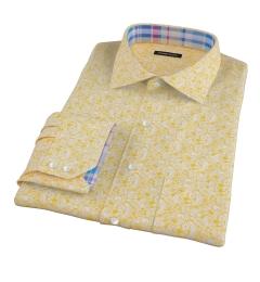 Canclini Orange Yellow Paisley Print Dress Shirt