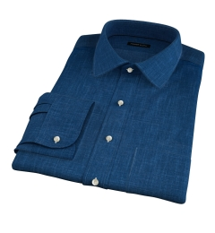 Blue Japanese Slub Weave Fitted Dress Shirt