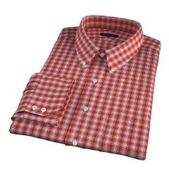 Terra Cotta 120s Check Fitted Dress Shirt