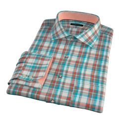 Dorado Aqua Plaid Custom Dress Shirt