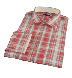 Canclini Red Yellow White Madras Custom Dress Shirt