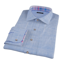 Brisbane Dark Blue Slub Fitted Shirt
