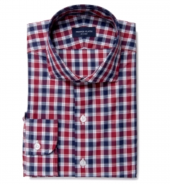 Vincent Crimson and Navy Plaid Custom Dress Shirt