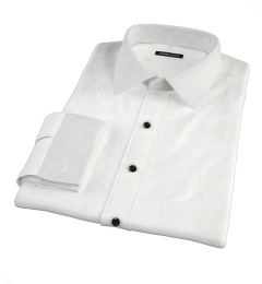 Thomas Mason White Fine Twill Fitted Dress Shirt