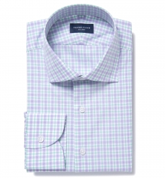 Novara Lavender and Green Check Fitted Shirt