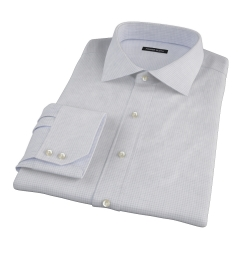 Canclini Grey Melange Grid Fitted Dress Shirt