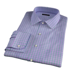 Rye 120s Lavender and Green Multi Check Fitted Shirt