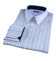 Albini Vintage Stripe Oxford Chambray Fitted Dress Shirt