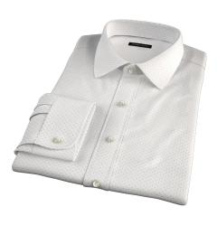 Navy on White Printed Pindot Dress Shirt