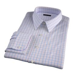 Novara Blue and Orange Check Men's Dress Shirt
