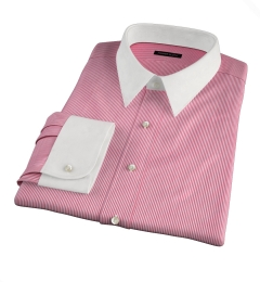 Carmine Red Pencil Stripe Fitted Shirt