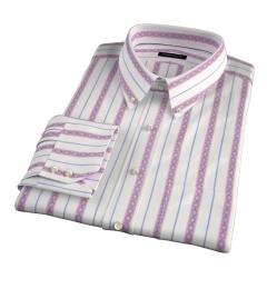 Albini Red Folk Stripe Tailor Made Shirt