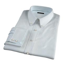 Canclini Seafoam Stripe Luxury Seersucker Custom Made Shirt