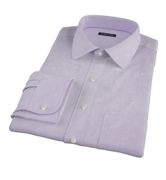 Thomas Mason 120s Lavender Mini Grid Fitted Dress Shirt