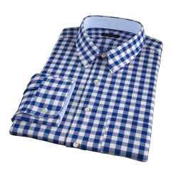 100s Royal Blue Large Gingham Fitted Dress Shirt