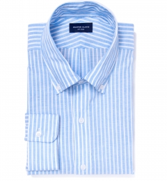 Light Blue Cotton Linen Stripe Men's Dress Shirt
