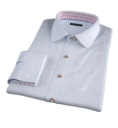 Light Blue Horizontal Stipe Heavy Oxford Custom Made Shirt