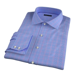 Carmine Blue Red Prince of Wales Check Dress Shirt