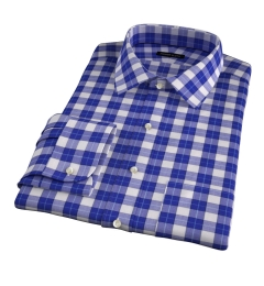 Violet Plaid Flannel Fitted Dress Shirt