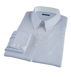 Thomas Mason Luxury Blue Mini Grid Fitted Dress Shirt