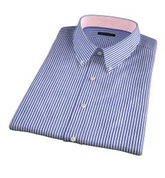 Albini Marine Stripe Seersucker Short Sleeve Shirt