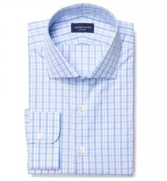 Novara Ocean Blue 120s Check Custom Made Shirt