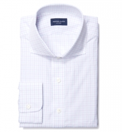 Lazio Lavender 100s Border Grid Custom Dress Shirt