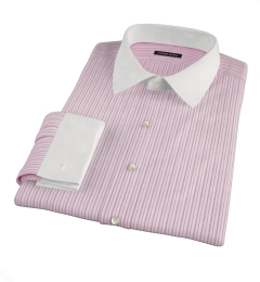 Canclini Red Cotton Linen Stripe Men's Dress Shirt