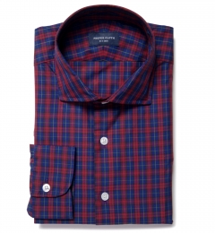 Vincent Blue and Scarlet Plaid Custom Dress Shirt