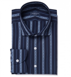 Albini Navy Folk Stripe Fitted Dress Shirt