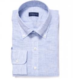 Canclini Light Blue Horizontal Stripe Linen Fitted Dress Shirt