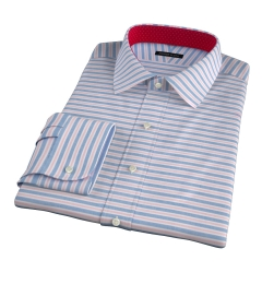 Albini Red Blue Horizon Stripe Custom Dress Shirt