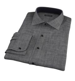 Black Denim Fitted Dress Shirt