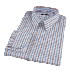 Thomas Mason Brown Multi Gingham Fitted Dress Shirt